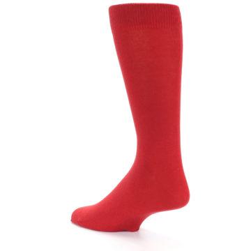 Image of Red Solid Color Men's Dress Socks (side-2-back-14)