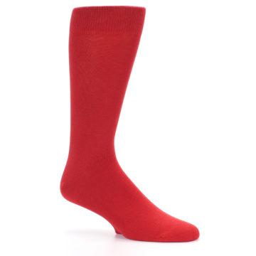 Image of Red Solid Color Men's Dress Socks (side-1-26)