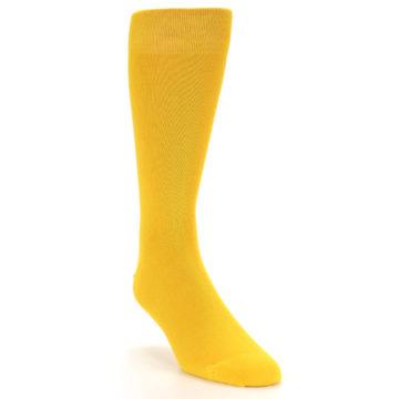 Image of Golden Yellow Solid Color Men's Dress Socks (side-1-front-02)