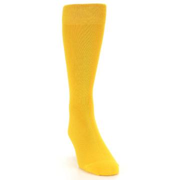 Image of Golden Yellow Solid Color Men's Dress Socks (side-1-front-03)