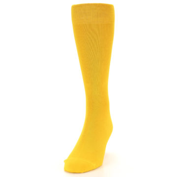 Image of Golden Yellow Solid Color Men's Dress Socks (side-2-front-06)