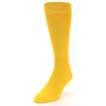 Image of Golden Yellow Solid Color Men's Dress Socks (side-2-front-07)