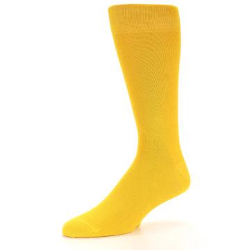 Image of Golden Yellow Solid Color Men's Dress Socks (side-2-09)