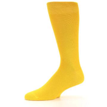 Image of Golden Yellow Solid Color Men's Dress Socks (side-2-10)