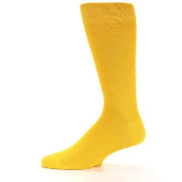 Image of Golden Yellow Solid Color Men's Dress Socks (side-2-11)