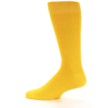 Image of Golden Yellow Solid Color Men's Dress Socks (side-2-12)
