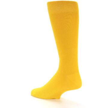 Image of Golden Yellow Solid Color Men's Dress Socks (side-2-back-14)