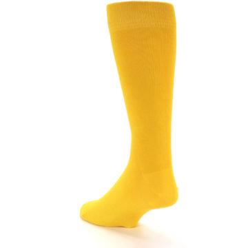 Image of Golden Yellow Solid Color Men's Dress Socks (side-2-back-15)