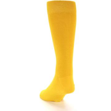 Image of Golden Yellow Solid Color Men's Dress Socks (side-2-back-16)