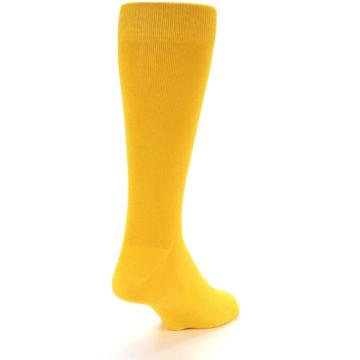 Image of Golden Yellow Solid Color Men's Dress Socks (side-1-back-20)