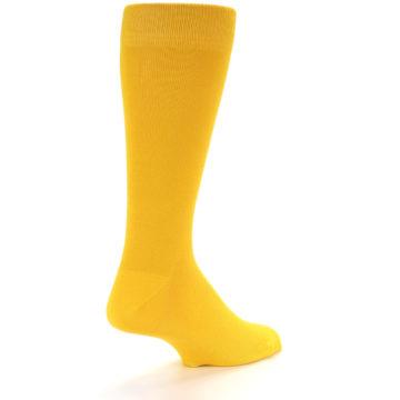 Image of Golden Yellow Solid Color Men's Dress Socks (side-1-back-21)