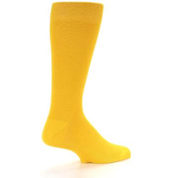 Image of Golden Yellow Solid Color Men's Dress Socks (side-1-back-22)
