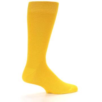Image of Golden Yellow Solid Color Men's Dress Socks (side-1-23)