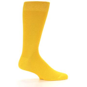 Image of Golden Yellow Solid Color Men's Dress Socks (side-1-24)