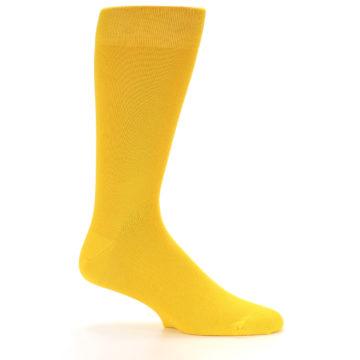 Image of Golden Yellow Solid Color Men's Dress Socks (side-1-25)