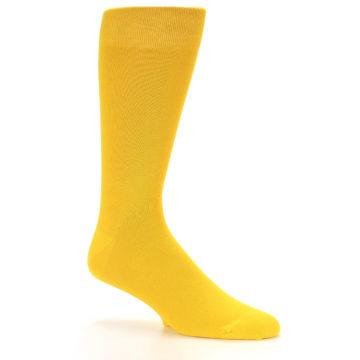 Image of Golden Yellow Solid Color Men's Dress Socks (side-1-26)