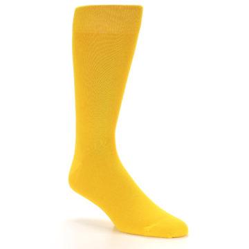 Image of Golden Yellow Solid Color Men's Dress Socks (side-1-27)