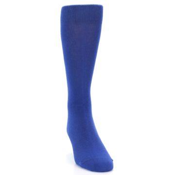 Image of Midnight Blue Solid Color Men's Dress Socks (side-1-front-03)