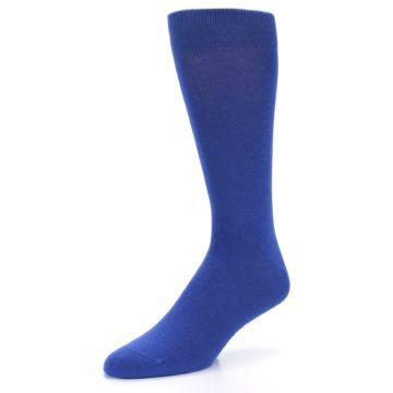 Image of Midnight Blue Solid Color Men's Dress Socks (side-2-front-08)