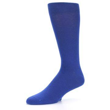 Image of Midnight Blue Solid Color Men's Dress Socks (side-2-09)