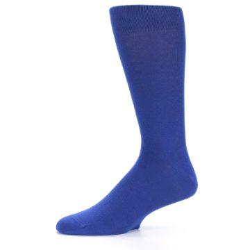 Image of Midnight Blue Solid Color Men's Dress Socks (side-2-10)