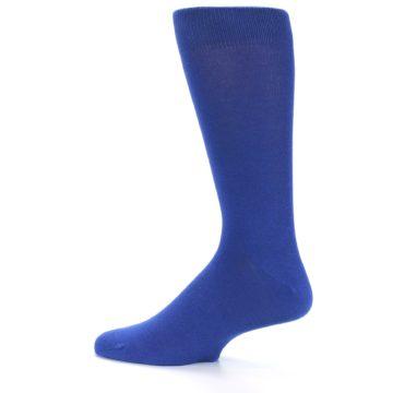 Image of Midnight Blue Solid Color Men's Dress Socks (side-2-12)