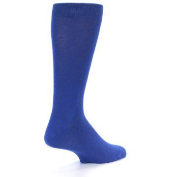 Image of Midnight Blue Solid Color Men's Dress Socks (side-1-back-21)