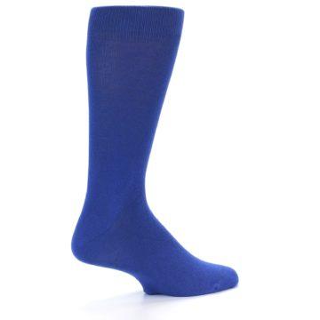 Image of Midnight Blue Solid Color Men's Dress Socks (side-1-back-22)