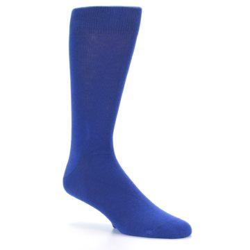 Image of Midnight Blue Solid Color Men's Dress Socks (side-1-26)
