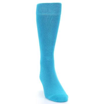 Image of Malibu Blue Solid Color Men's Dress Socks (side-1-front-03)