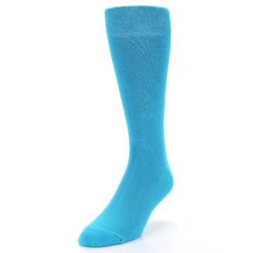 Image of Malibu Blue Solid Color Men's Dress Socks (side-2-front-07)