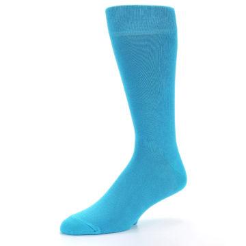 Image of Malibu Blue Solid Color Men's Dress Socks (side-2-09)