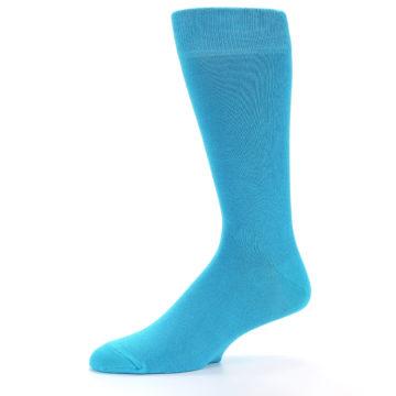 Image of Malibu Blue Solid Color Men's Dress Socks (side-2-10)