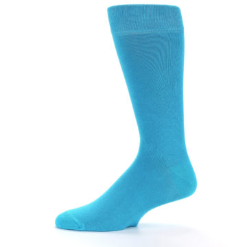 Image of Malibu Blue Solid Color Men's Dress Socks (side-2-11)