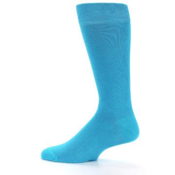 Image of Malibu Blue Solid Color Men's Dress Socks (side-2-12)