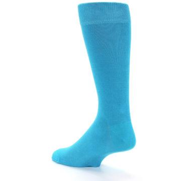 Image of Malibu Blue Solid Color Men's Dress Socks (side-2-back-14)