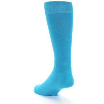 Image of Malibu Blue Solid Color Men's Dress Socks (side-2-back-15)
