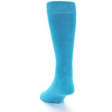 Image of Malibu Blue Solid Color Men's Dress Socks (side-2-back-16)