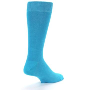 Image of Malibu Blue Solid Color Men's Dress Socks (side-1-back-21)