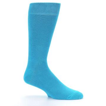 Image of Malibu Blue Solid Color Men's Dress Socks (side-1-25)