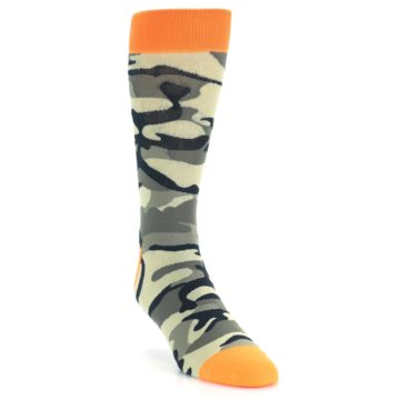 Image of Green Black Orange Camo Men's Dress Socks (side-1-front-02)