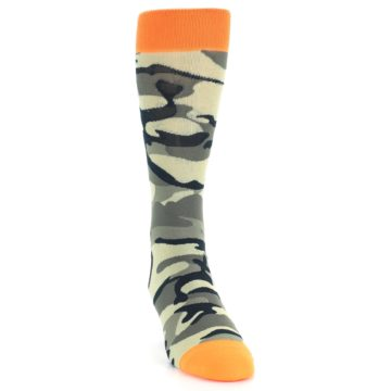 Image of Green Black Orange Camo Men's Dress Socks (side-1-front-03)