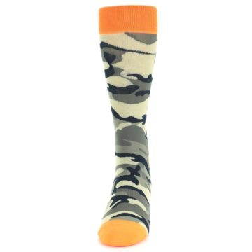 Image of Green Black Orange Camo Men's Dress Socks (front-05)