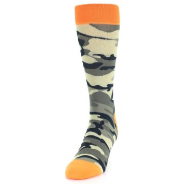 Image of Green Black Orange Camo Men's Dress Socks (side-2-front-06)