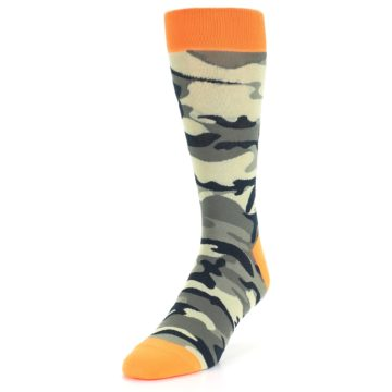 Image of Green Black Orange Camo Men's Dress Socks (side-2-front-07)