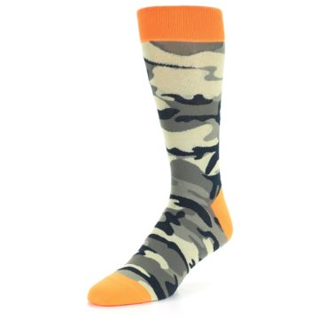 Image of Green Black Orange Camo Men's Dress Socks (side-2-front-08)