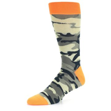 Image of Green Black Orange Camo Men's Dress Socks (side-2-09)