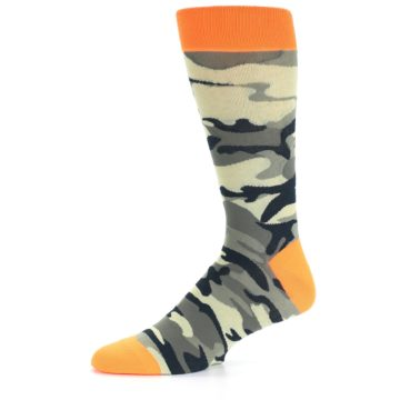 Image of Green Black Orange Camo Men's Dress Socks (side-2-10)