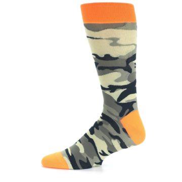Image of Green Black Orange Camo Men's Dress Socks (side-2-11)