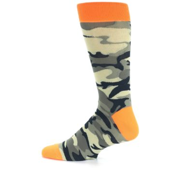 Image of Green Black Orange Camo Men's Dress Socks (side-2-12)